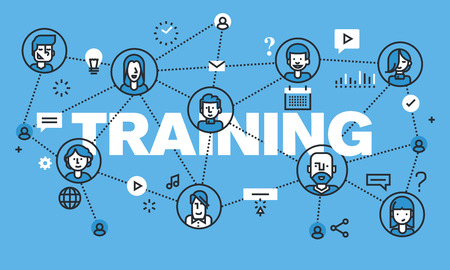 acquiring: Modern thin line design concept for TRAINING website banner. Vector illustration concept for online training, distance education, modern way of acquiring knowledge through the internet. Illustration