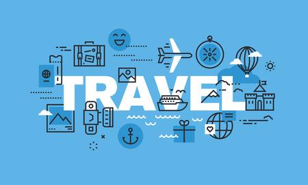 agencia de viajes: delgada línea moderno concepto de diseño para el sitio web de viajes a Banner. ilustración vectorial concepto de agencia de viajes, destino del viaje, vacaciones de verano o de invierno.