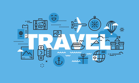 travel destination: Modern thin line design concept for TRAVEL website banner. Vector illustration concept for travel agency, travel destination, summer and winter vacation.