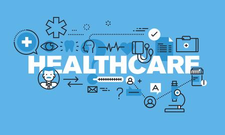 건강 관리 웹 사이트 배너에 대 한 현대 얇은 라인 디자인 개념. 벡터 일러스트 레이 션 의료 진단 및 치료에 대 한 개념입니다.