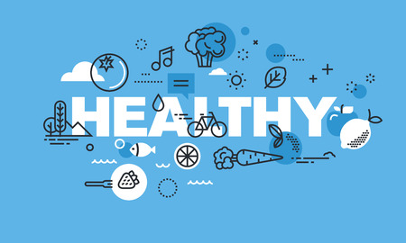 Modern dunne lijn design concept voor een gezonde website banner. Vector illustratie concept voor een gezonde levensstijl, actieve levensstijl, gezonde voeding, gezonde omgeving. Stock Illustratie