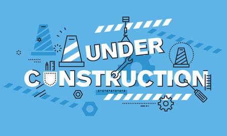 flaco: delgada línea concepto de diseño moderno para el fondo EN CONSTRUCCIÓN sitio web o banner. ilustración vectorial concepto de la información utilizada para mostrar que el proceso de la página web o una página web de la construcción está teniendo lugar.