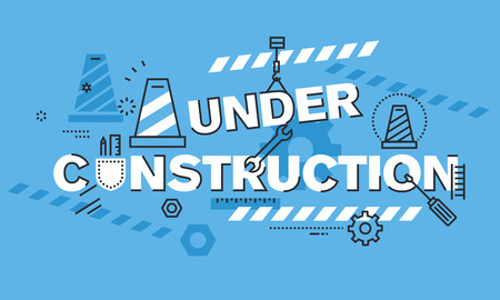 website words: Modern thin line design concept for UNDER CONSTRUCTION website background or banner. Vector illustration concept for the information used to show that the process of website or web page construction is taking place. Illustration