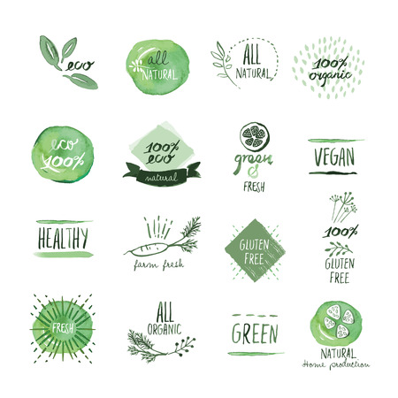 Set of organic food hand drawn watercolor labels and elements. Vector illustrations for organic food and drink, restaurant and organic products.