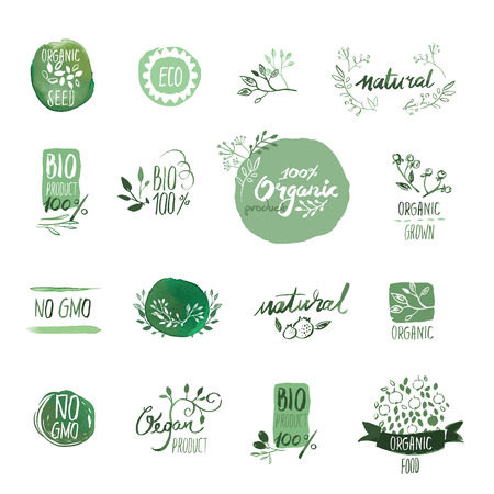 Set of organic food hand drawn watercolor badges and elements. Vector illustrations for organic food and drink, restaurant and organic products. Ilustração