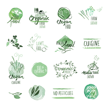 Jeu de main dessiné les étiquettes et les badges d'aquarelle d'aliments biologiques. illustrations vectorielles pour les aliments et boissons biologiques, un restaurant et des produits biologiques. Vecteurs