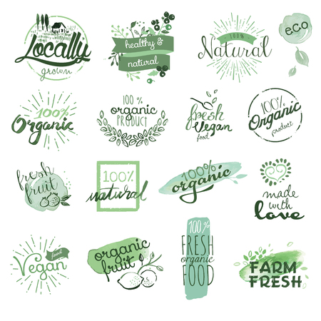 Organic food badges and elements. Hand drawn watercolor vector illustration set for food and drink, restaurant, natural products. Illustration