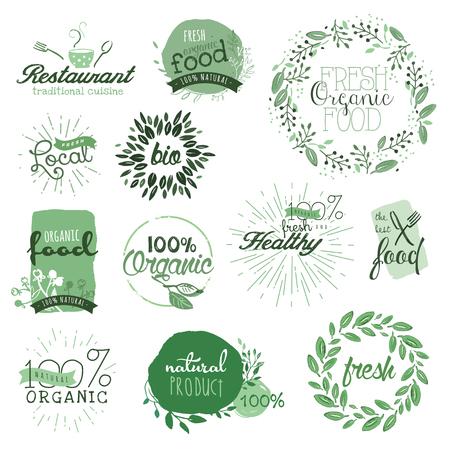Organic étiquettes des aliments et des éléments. Main aquarelle dessinée illustration vectorielle définie pour la nourriture et des boissons, restaurant, produits naturels. Vecteurs