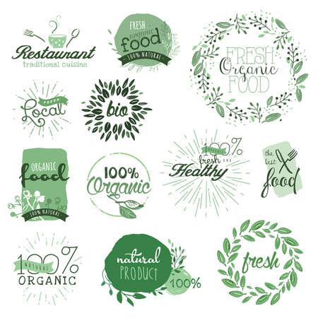 Organic food labels and elements. Hand drawn watercolor vector illustration set for food and drink, restaurant, natural products.