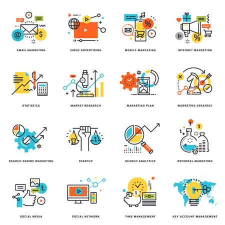 インターネット マーケティングとオンライン ビジネスのフラット ライン デザイン アイコンのセットです。グラフィックや web デザイン、開発、白