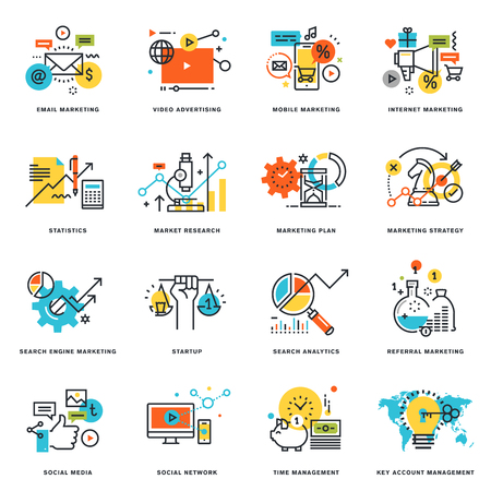 Set of flat line design icons of internet marketing and online business. Vector illustration concepts for graphic and web design and development, isolated on white.