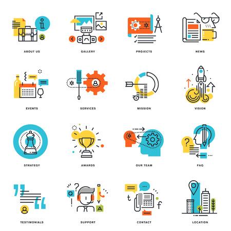 フラット ライン デザイン ビジネスのアイコンのセットです。グラフィックや web デザイン、開発、白で隔離のベクトル図概念。