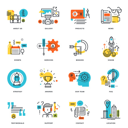 Set of flat line design business icons. Vector illustration concepts for graphic and web design and development, isolated on white.