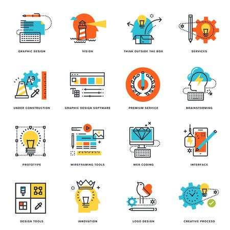 グラフィック デザイン、ツールおよび創造的なプロセスのフラット ライン デザイン アイコンのセットです。グラフィックや web デザイン、開発、