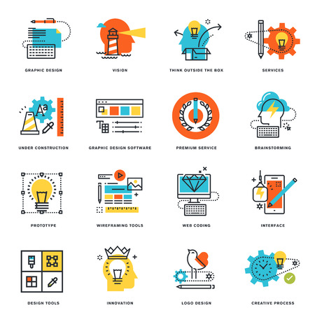 Set of flat line design icons of graphic design, tools and creative process. Vector illustration concepts for graphic and web design and development, isolated on white.