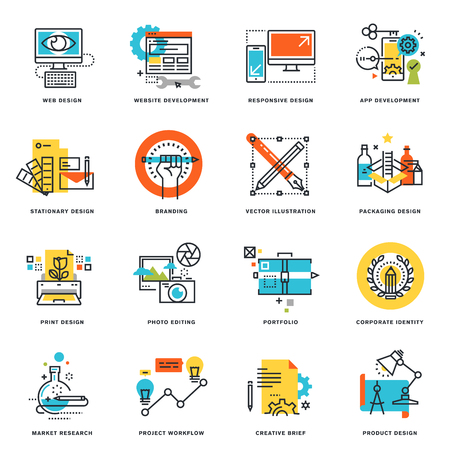 Set of flat line design icons of graphic design, website and app design and development. Vector illustration concepts.
