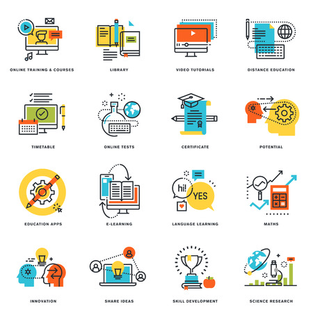 Conjunto de iconos del diseño de línea plana de la educación en línea y e-learning. conceptos ilustración del vector para el diseño gráfico y web y desarrollo, aislados en blanco. Ilustración de vector