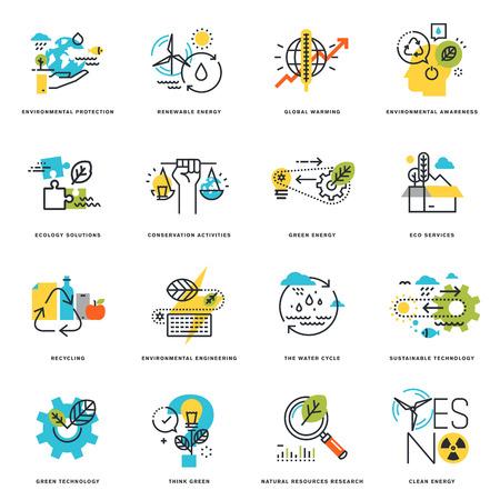 自然、エコロジー、グリーン技術、リサイクルのフラット ライン デザイン アイコンのセットです。グラフィックや web デザイン、開発、白で隔離の