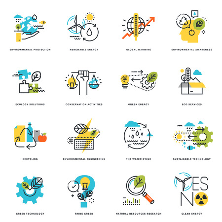 Set of flat line design icons of nature, ecology, green technology and recycling. Vector illustration concepts for graphic and web design and development, isolated on white. Çizim