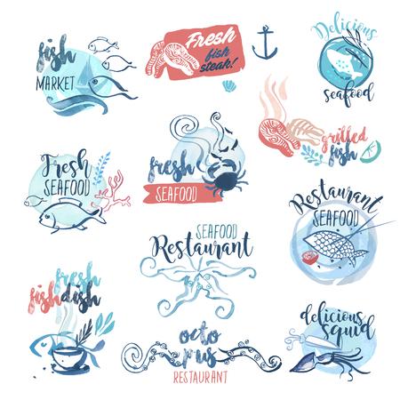 Set van hand getekende aquarel labels en tekenen van zeevruchten. Vector illustraties voor het menu, eten en drinken, het restaurant en de vismarkt.