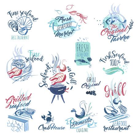 logo poisson: Définir des signes et des autocollants de fruits de mer aquarelle dessinés à la main. illustrations vectorielles pour le menu, la nourriture et des boissons, restaurant et marché aux poissons.