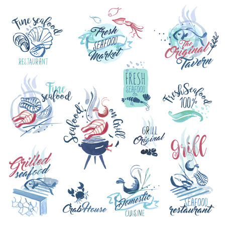 Set of hand drawn watercolor signs and stickers of seafood. Vector illustrations for menu, food and drink, restaurant and fish market. Stock Illustratie