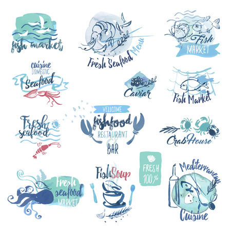 fresh: Set of hand drawn watercolor labels and elements of seafood. Vector illustrations for menu, food and drink, restaurant and fish market.
