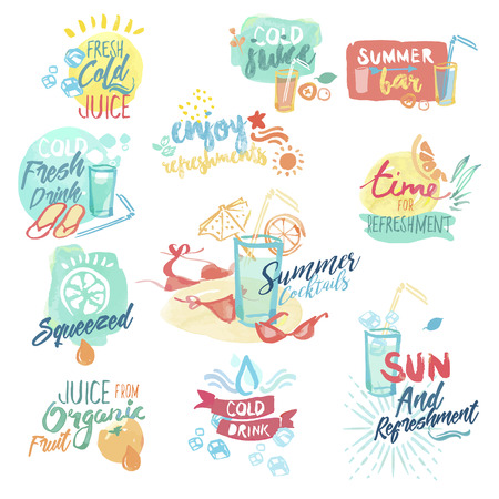 palm wreath: Set of hand drawn watercolor badges and stickers of fresh fruit juice and drinks. Vector illustrations for menu, food and drink, restaurant and bar, summer refreshment, cocktail bar, organic fruit, summer holiday.