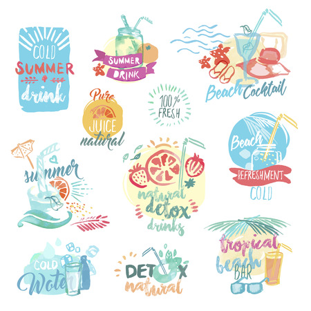 refreshment: Set of hand drawn watercolor labels and badges of fresh fruit juice and drinks. Vector illustrations for menu, food and drink, restaurant and bar, summer refreshment, cocktail bar, organic fruit, summer holiday.