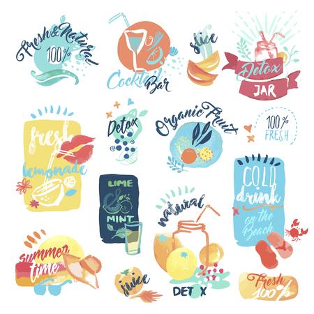 jugo de frutas: Conjunto de etiquetas y pegatinas de zumo de fruta fresca y bebidas acuarela dibujado a mano. ilustraciones vectoriales para el menú, la comida y la bebida, restaurante y bar, refresco de té, bar de cócteles, fruta orgánica, vacaciones de verano. Vectores