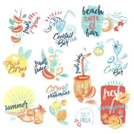 Set of hand drawn watercolor signs and labels of fresh fruit juice and drinks. Vector illustrations for menu, food and drink, restaurant and bar, summer refreshment, cocktail bar, organic fruit, summer holiday.