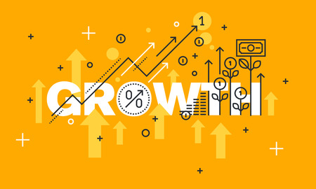 economic interest: Thin line flat design banner for GROWTH web page, finance, investment, banking, production growth, the companys profits. Modern vector illustration concept of word GROWTH for website and mobile website banners.