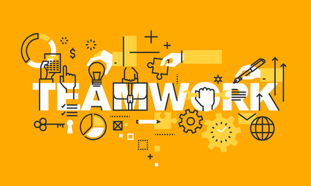 Thin line flat design banner for TEAMWORK web page, management information, about us information, our team, business procedures, projects. Modern vector illustration concept of word TEAMWORK for website and mobile website banners. Illustration