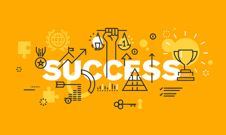 economics: Thin line flat design banner for success web page, information about awards for the quality of products and services, new product development, sports results, economic and social activities. Modern vector illustration concept of word SUCCESS for website a Illustration