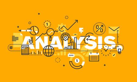 분석 웹 페이지, 재무 분석, 회계, 제품 및 서비스 개발, 비즈니스 제어를위한 얇은 라인 평면 디자인 배너입니다. 웹 사이트 및 모바일 웹 사이트 배너