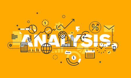 business analysis: Thin line flat design banner for ANALYSIS web page, financial analysis, accounting, products and services development, business control. Modern vector illustration concept of word ANALYSIS for website and mobile website banners.