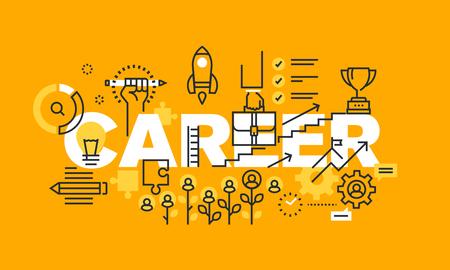 キャリア web ページ、雇用、キャリア開発、求人検索ツールおよびサービスの細い線フラット デザイン バナー。ウェブサイトや携帯サイトのバナー