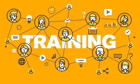 web training: Thin line flat design banner for TRAINING web page, online education, courses, networking, video tutorials, staff training. Modern vector illustration concept of word TRAINING for website and mobile website banners.