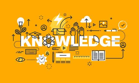 onderwijs: Dunne lijn plat ontwerp banner voor kennis webpagina, onderwijs, investering in de toekomst, de keuze van het beroep, moderne vector illustratie concept van woord KNOWLEGEGE voor website en mobiele website banners.