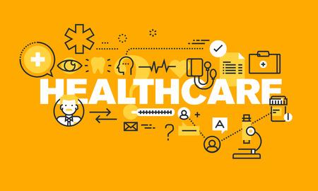 医療ヘルスケアの web ページの薄いライン フラット デザイン バナーをサポート、保険医療、診断、治療。ウェブサイトや携帯サイトのバナーの医療