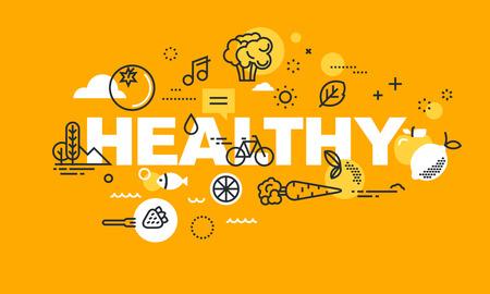 Dunne lijn platte ontwerpbanner voor GEZONDE webpagina, biologisch voedsel, sport en activiteiten, dieet, relatie, gezondheidsplanbeheer. Modern vectorillustratieconcept woord GEZOND voor website en mobiele websitebanners.
