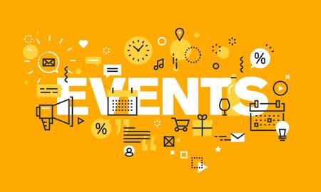 이벤트 웹 페이지, 일정, 계획, 마케팅 얇은 라인 평면 디자인 배너입니다. 웹 사이트 및 모바일 웹 사이트 배너 단어 행사의 현대 벡터 일러스트 레이