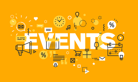 Dunne lijn platte ontwerpbanner voor EVENEMENTEN webpagina, kalender, planning, marketing. Modern vectorillustratieconcept woordevenementen voor website en mobiele websitebanners. Stock Illustratie