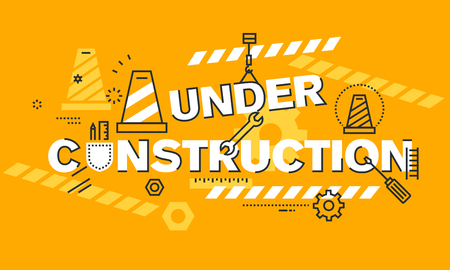 website words: Thin line flat design banner for UNDER CONSTRUCTION web page, website development process, coming soon web page information, website maintenance. Modern vector illustration concept of words UNDER CONSTRUCTION for website and mobile website background and