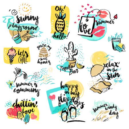 手のセットには、夏の水彩サインが描かれています。夏の休日、旅行、休暇、レストラン、バー、メニューの海、太陽、ビーチでの休暇、パーティ