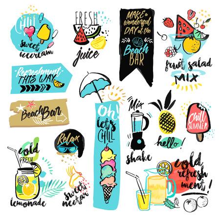 手描き水彩のリボンと夏のステッカーのセットです。夏の休日、旅行、休暇、レストラン、バー、メニューの海、太陽、ビーチでの休暇、パーティ