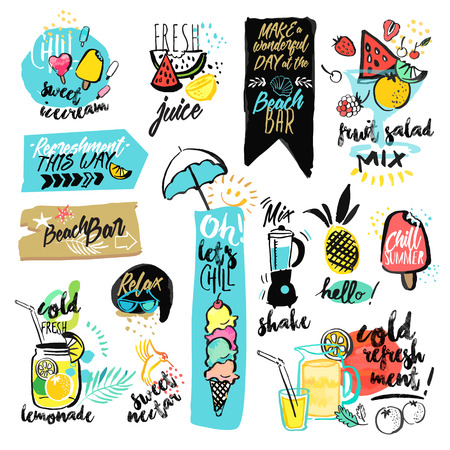 Conjunto de cintas y etiquetas engomadas de verano acuarela dibujado a mano. ilustraciones vectoriales para vacaciones de verano, viajes y vacaciones, restaurante y bar, menú, mar y sol, vacaciones en la playa y fiesta.