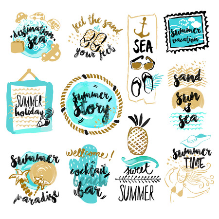 Set of hand drawn watercolor badges and stickersof summer. Vector illustrations for summer holiday, travel and vacation, restaurant and bar, menu, sea and sun, beach vacation and party.