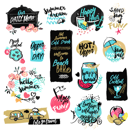 Set of hand drawn watercolor labels and badges of summer. Vector illustrations for summer holiday, travel and vacation, restaurant and bar, menu, sea and sun, beach vacation and party. Ilustração