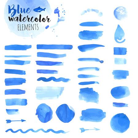 Ensemble d'éléments dessinés à la main d'aquarelle bleue, brosses, goutte d'eau, des cadres, des taches, des rubans, motif et de fond. illustrations vectorielles pour la conception graphique et web.